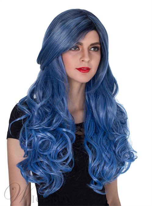 Long Wavy Capless Synthetic Hair Wig for Cosplay 26 Inches