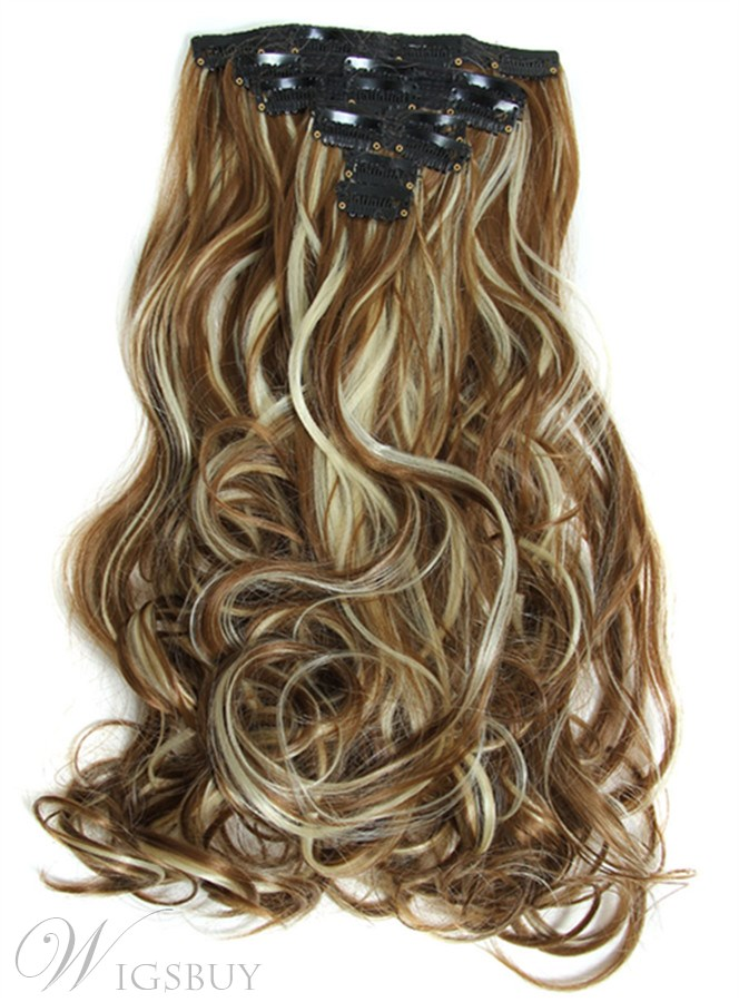 Long Wave Mixed Color Synthetic 7 PCs Clip In Hair Extensions 24 Inches