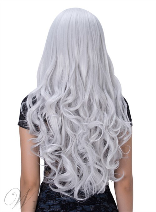 Silvery White Long Wavy Capless Synthetic Hair Cosplay Wig 30 Inches