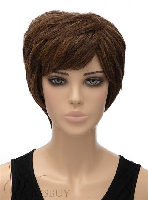 New Layered Short Wavy Capless Synthetic Hair Wig 8 Inches 12440951