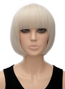 Cute Short Bob Hairstyle Striaght Capless Synthetic Hair Wig 10 Inches