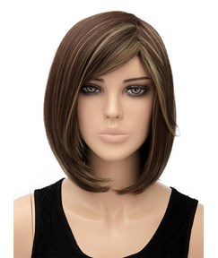 New Medium Bob Hairstyle Straight Capless Synthetic Hair Wig 12 Inches