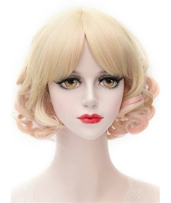 Golden Color Short Wave Full Bang Capless Synthetic Cosplay Wigs