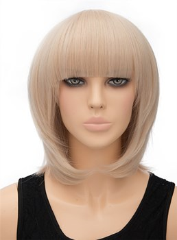 Medium Striahgt Full Bangs Capless Synthetic Hair Wig 12 Inches