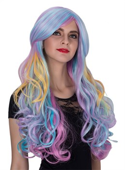 Colored Long Wavy Capless Synthetic Hair Cosplay Wig 32 Inches