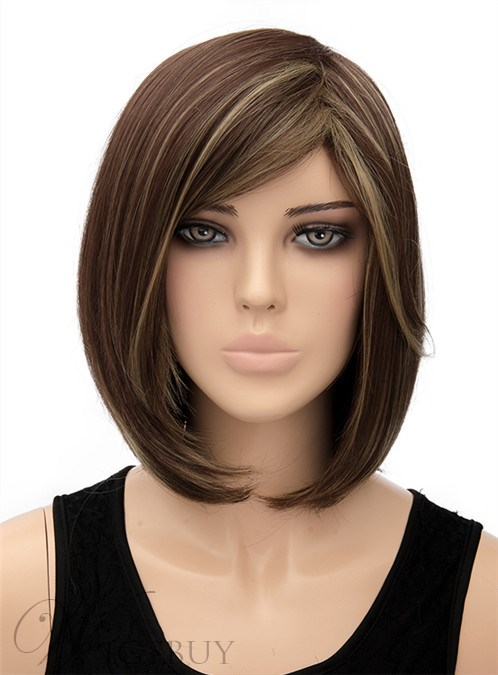 New Medium Bob Hairstyle Straight Capless Synthetic Hair Wig 12 Inches 12440954