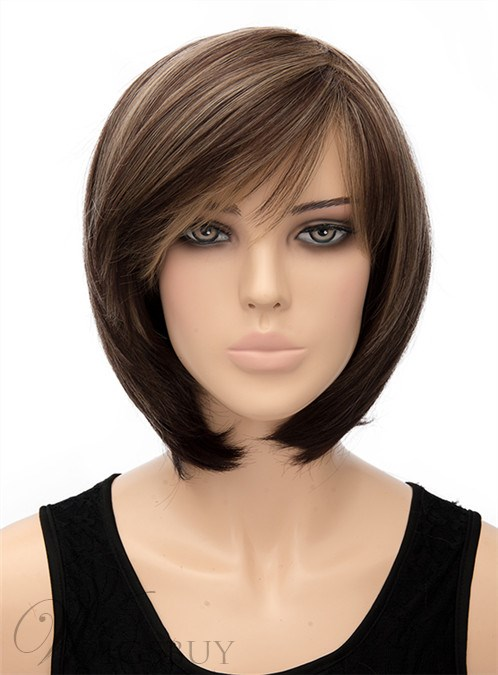 Cute Medium Straight Capless Synthetic Hair Wig 12 Inches 12440952