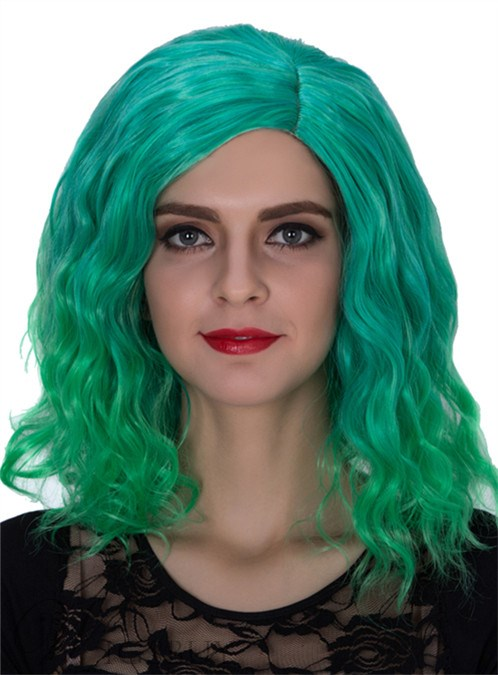 Green Medium Wavy Capless Synthetic Hair Wig 14 Inches