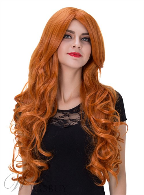Long Wavy Capless Synthetic Hair Wig 32 Inches for Cosplay