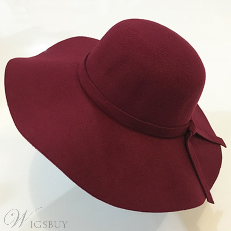 Wool Blends Bowknot Hat For Lady