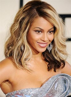 Beyonce Wavy Lob Hairstyle Medium Full Lace Human Hair Wig 14 Inches
