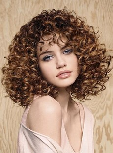 Elegant Medium Curly Capless Human Hair Wig 12 Inches