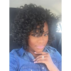 African American Kinky Curly Medium Capless Human Hair Wig 12 Inches