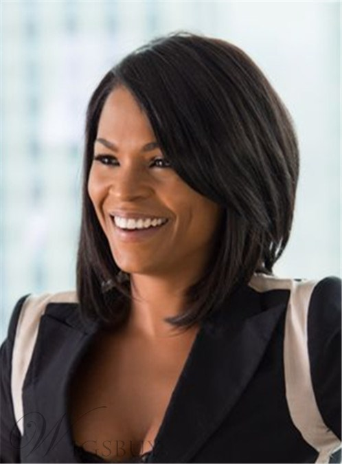 Nia Long Medium Straight Layered Lace Front Synthetic Hair Wig 12 Inches