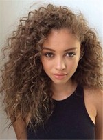 Fashionable Medium Curly Human Hair Lace Front Cap Wigs For Women 16 Inches