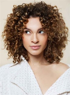 Mid-Length Kinky Curly Lace Front Cap Synthetic Hair Wig 12 Inches