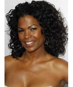 Nia Long Kinky Curly Medium Lace Front Human Hair Wig 14 Inches