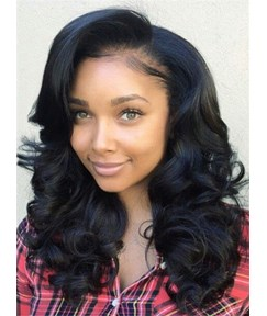Attractive Medium Large Wave Lace Front Human Hair Wig 16 Inches