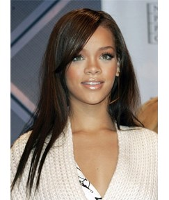 Rihanna Long Sraight Lace Front Human Hair Wig 20 Inches
