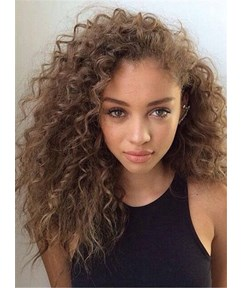 Fashionable Medium Curly Human Hair Lace Front Cap Wig 16 Inches