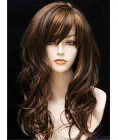 Long Curly Full Bang Synthetic Capless Women Wigs 22 Inches