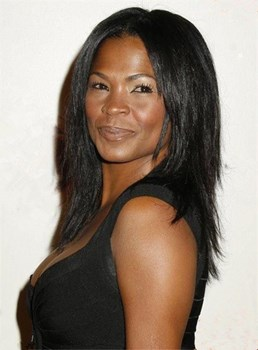 Nia Long Medium Straight Layered Lace Front Human Hair Wig 14 Inches