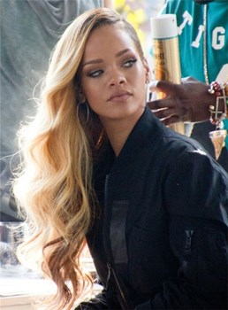 Rihanna Long Wavy Lace Front Human Hair Wig 22 Inches