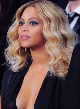Beyonce Medium Wavy Lace Front Human Hair Wig 16 Inches