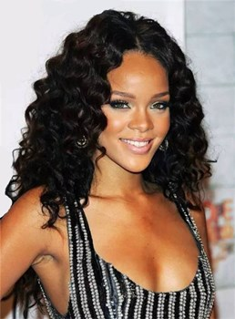 Rihanna Long Curly Lace Front Synthetic Hair Wig 22 Inches