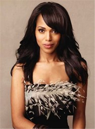 Kerry Washington Elegant edium Wavy Lace Front Human Hair Wig 16 Inches