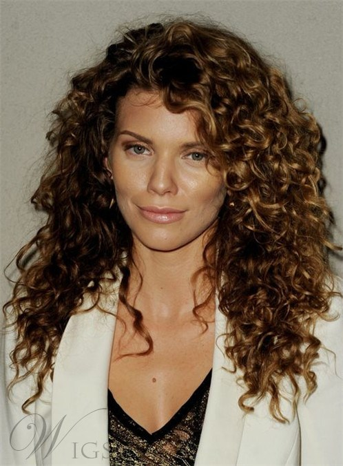 New Medium Curly Lace Front Human Hair Wig 16 Inches