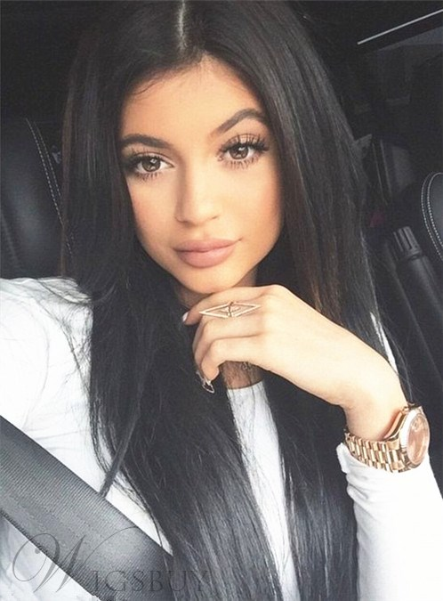 Kylie Jenner Long Straight Lace Front Human Hair Wig 20 Inches
