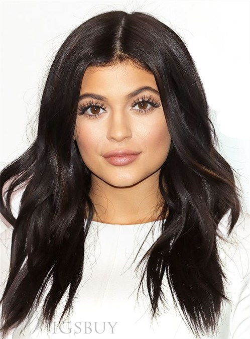 Kylie Jenner Long Wavy Lace Front Human Hair Wig 18 Inches