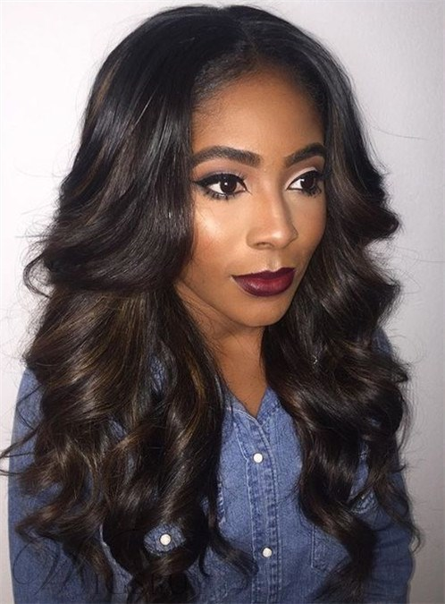 Attractive Long Wavy Lace Front Synthetic Hair Wig 22 Inches