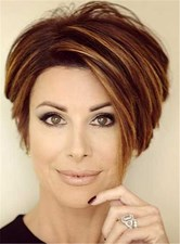 Short Straight Mixed Color Lob Lace Front Human Hair Wigs for Older Women