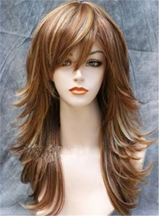 Long Layered Side Fringe Synthetic Capless Wigs 18 Inches