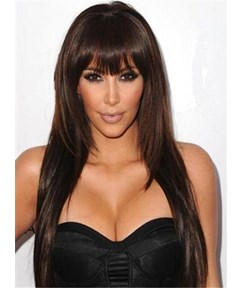Kim Kardashion Long Straight Full Bangs Capless Synthetic Hair Wig 20 Inches