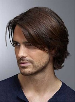 Middle Natural Straight Side Swept Fringes Men's Hairstyle Lace Front Human Wigs 8 Inches