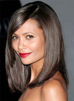 Medium Fashionable Straight Lace Front Human Hair Wig 14 Inches