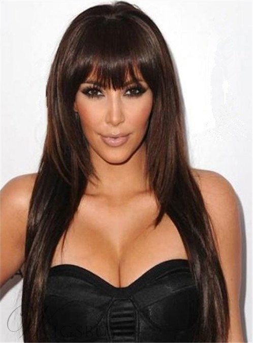 Kim Kardashion Long Straight Full Bangs Capless Synthetic Hair Wig 20 Inches 12493189