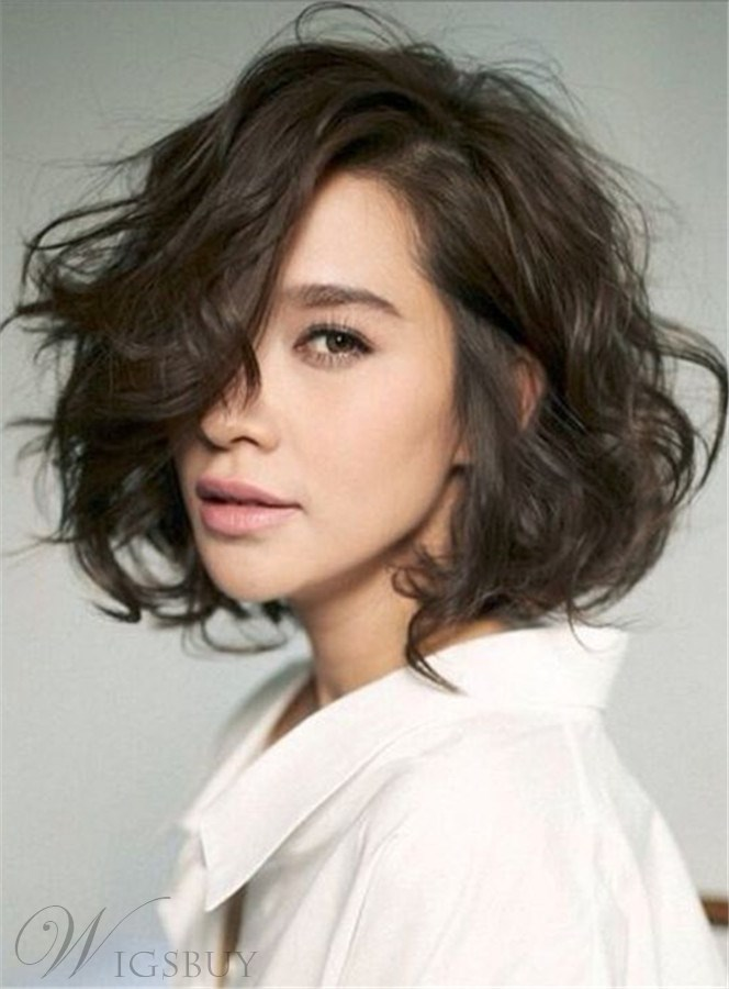 Shag Lobs Loose Wavy Short Hairstyle Side Swept Fringes Lace Front ...