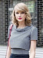 Taylor Swift Shoulder Length Natural Wavy Side Swept Fringes Lace Front Human Hair Wigs 12 Inches