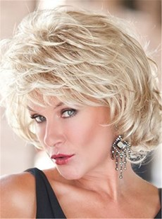 Toni-Brattin Short Fluffy Layered Wavy Synthetic Capless Wigs 10 Inches