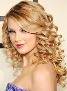 Taylor Swift Long Kinky Curly Side Swept Fringes Hairstyle Synthetic Lace Front Wigs 22 Inches