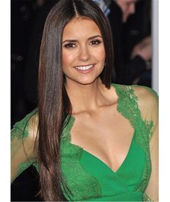 Nina Dobrev Long Straight Middle Part Hairstyle Lace Front Human Hair Wigs 24 Inches