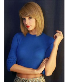 Taylor Swift Short Straight Bob Hairstyle Lace Front Human Hair Wigs 12 Inches
