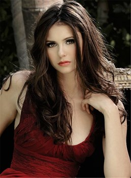 Nina Dobrev Long Wavy Middle Part Hairstyle Lace Front Human Hair Wigs 20 Inches