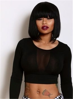 Blac Chyna Lob Hairstyel Medium Straight Capless Human Hair Wig 12 Inches
