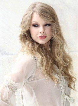 Taylor Swift Long Body Wave Side Swept Fringes Lace Front Synthetic Hair Wigs 22 Inches