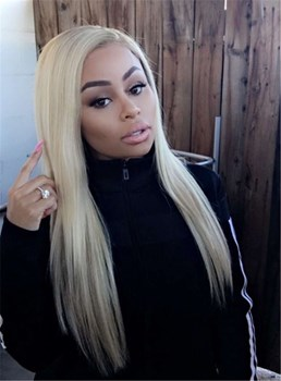 Blac Chyna Long Straight Lace Front Cap Human Hair Wig 18 Inches